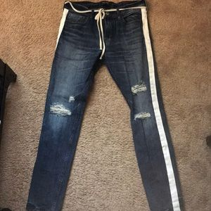 PacSun pants with rips and stripes on the side